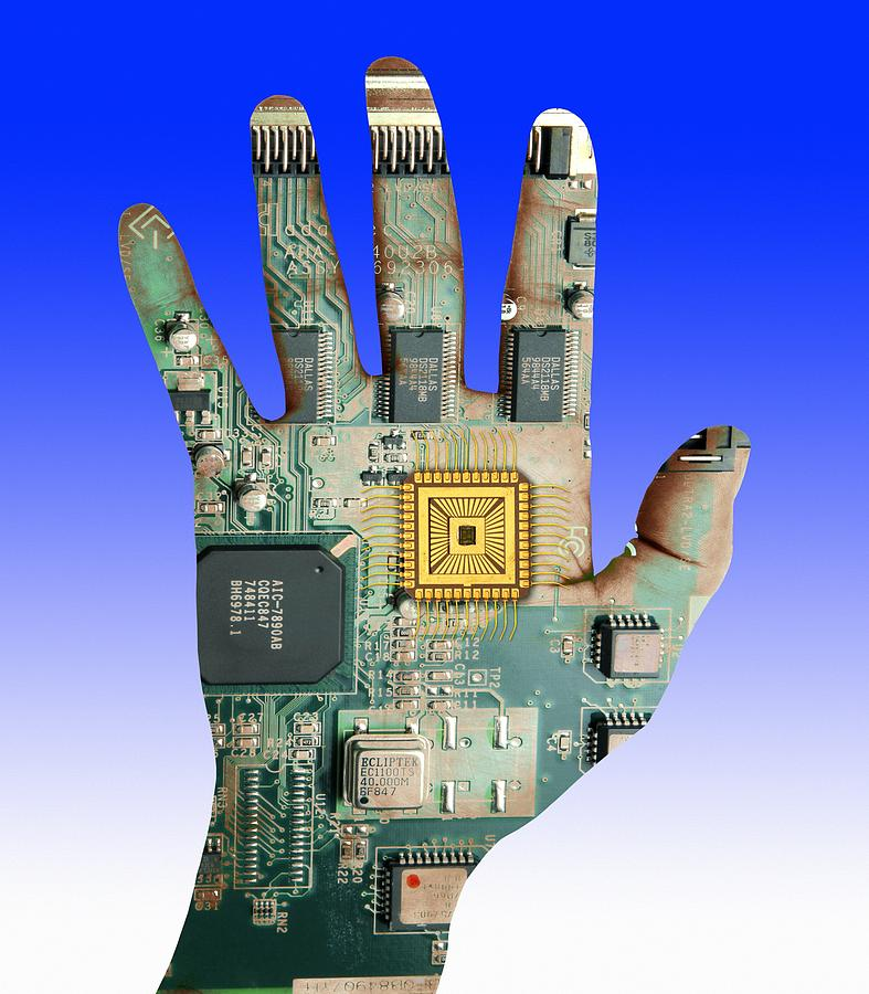 Printed Circuit Board Photograph - Cybernetics And Robotics by Victor De Schwanberg