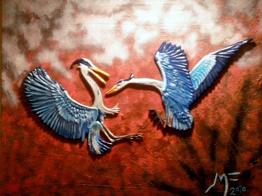 3-d Birds Painting by Jamie Farley