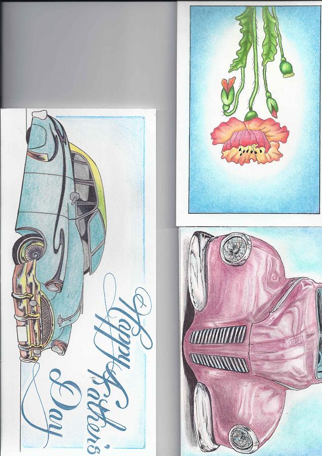 Cars Drawing - 3 Different Cards by Jay Van