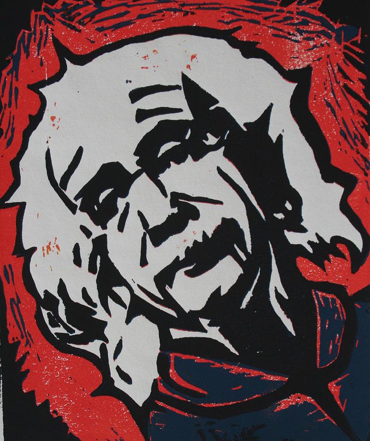 Lino Drawing - Einstein 2 by William Cauthern