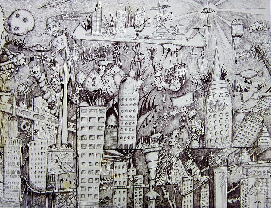City Scape Drawing - Erinville by Dan Twyman