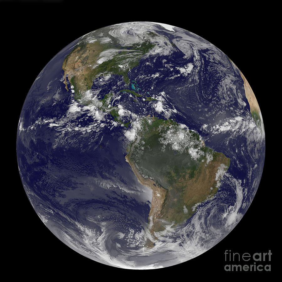 Whole Photograph - Full Earth Showing North America by Stocktrek Images