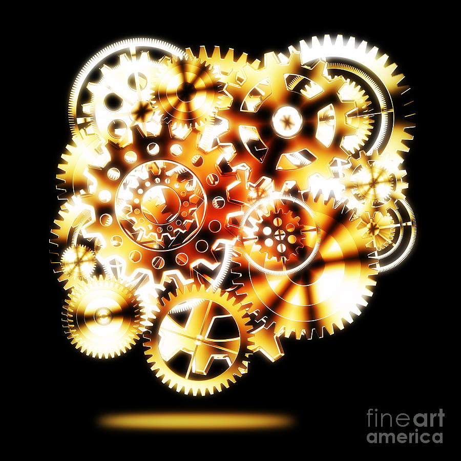 Background Photograph - Gears Wheels Design  by Setsiri Silapasuwanchai