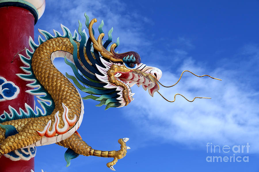 Ancient Photograph - Giant Golden Chinese Dragon by Anek Suwannaphoom