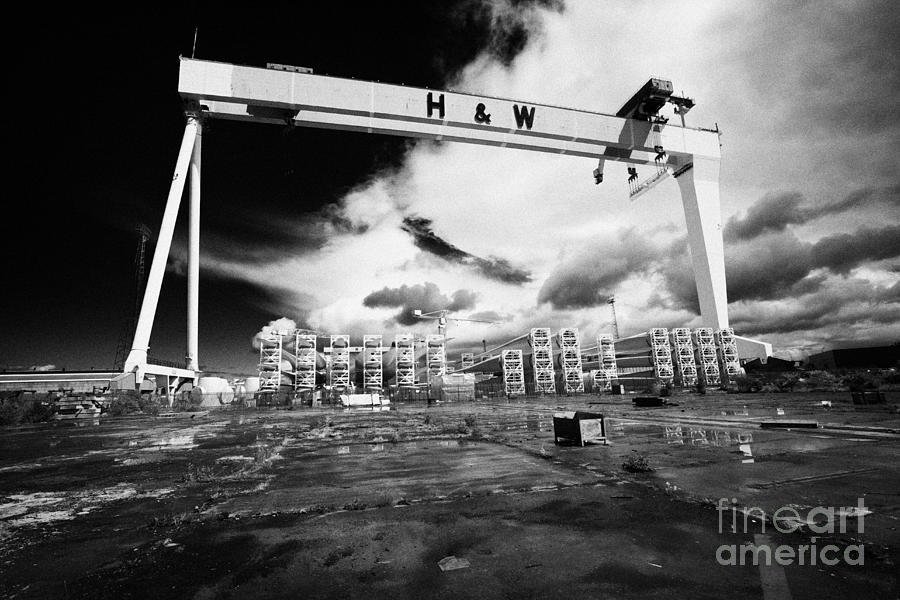 Titanic Photograph - Giant Harland And Wolff Crane Goliath At Shipyard Titanic Quarter Queens Island Belfast by Joe Fox
