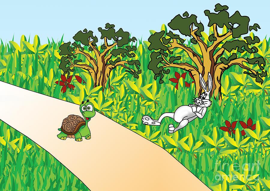 Hare And Tortoise Story Digital Art By Kanika Malhotra