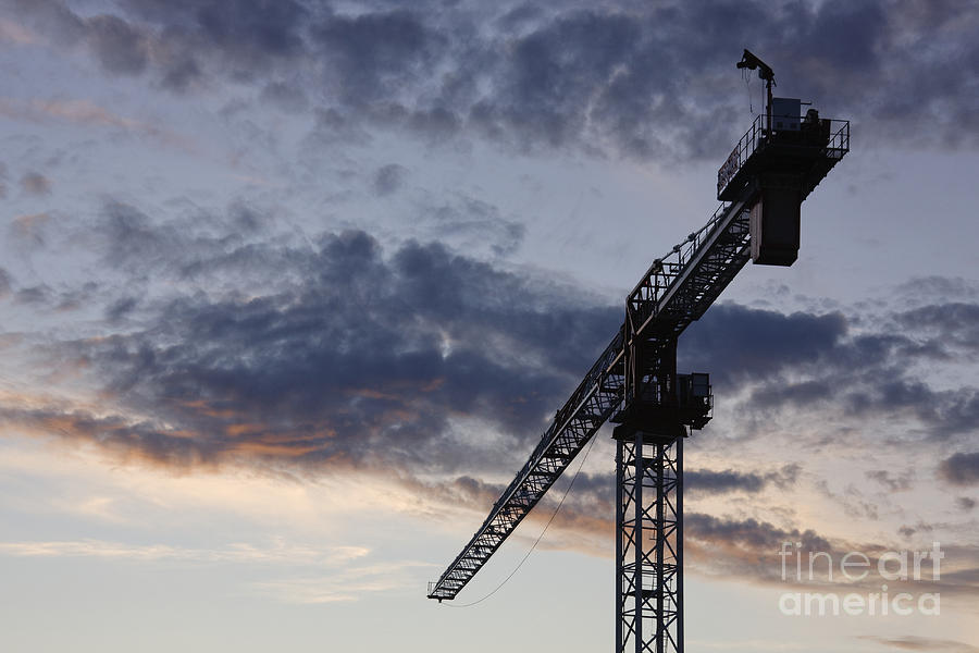 Cloudy Photograph - Industrial Crane by Jeremy Woodhouse
