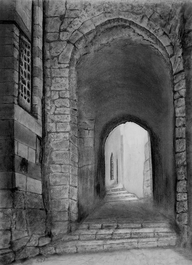 Jerusalem Drawing - Jerusalem Old Street by Marwan Hasna - Art Beat