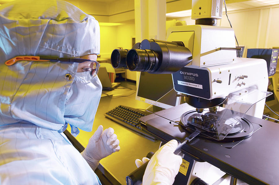 Microscope Photograph - Mems Production, Quality Control by Colin Cuthbert
