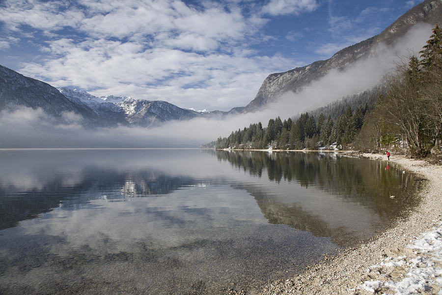 Bohinj Photograph - mist burning off Lake Bohinj by Ian Middleton