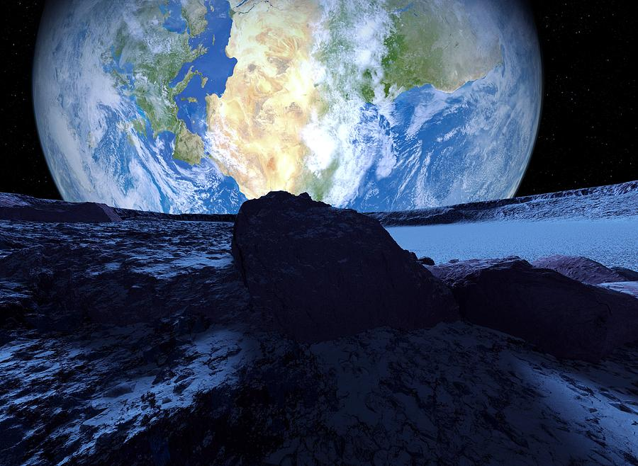 Approaching Photograph - Near-earth Asteroid, Artwork by Detlev Van Ravenswaay
