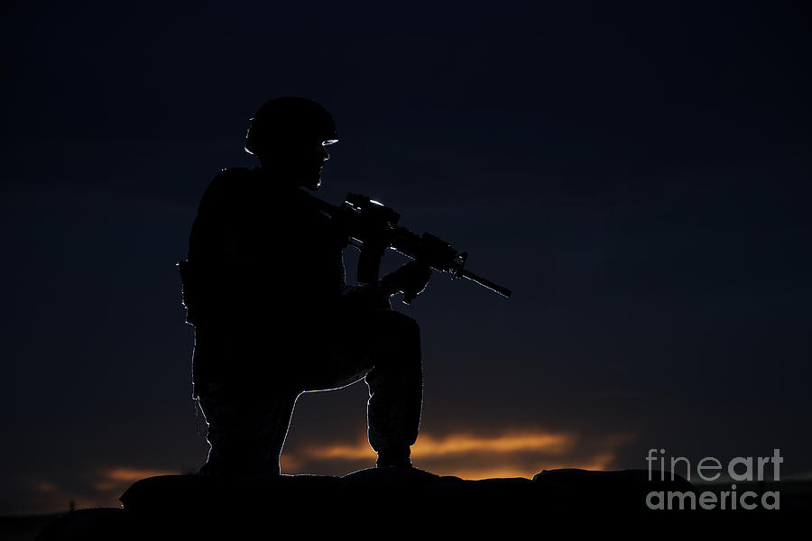 Outdoors Photograph - Partially Silhouetted U.s. Marine by Terry Moore