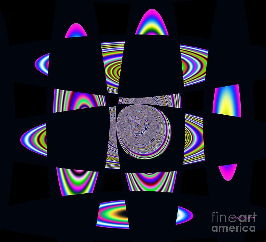 Solar Planetary Rings Mixed Media - Planetary Rings Maze by Deborah Juodaitis