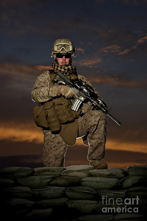 M16 Photograph - Portrait Of A U.s. Marine In Uniform by Terry Moore