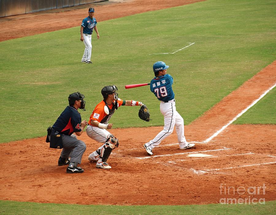 Baseball Photograph - Professional Baseball Game In Taiwan by Yali Shi
