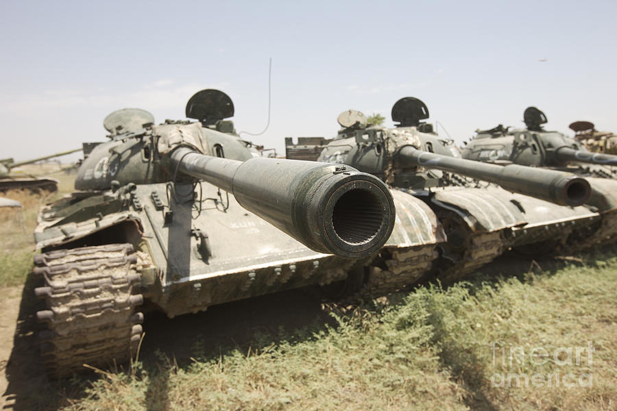 Army Photograph - Russian T-54 And T-55 Main Battle Tanks by Terry Moore