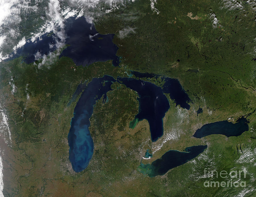 Color Image Photograph - Satellite View Of The Great Lakes by Stocktrek Images