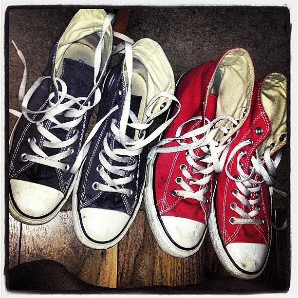 Blue Photograph - :3 #shoes #converse #blue #red by Amy Reid 💜