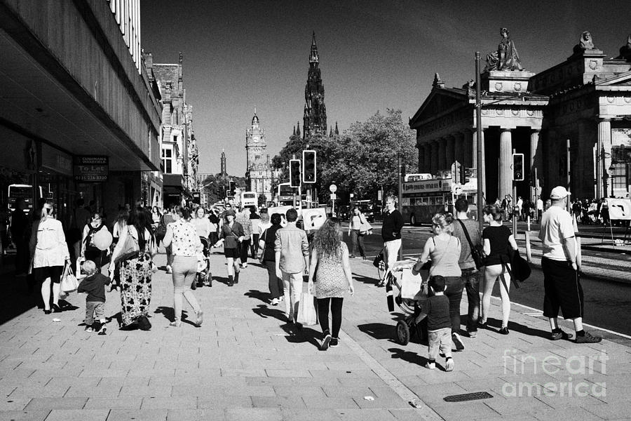 Princes Photograph - Shoppers And Tourists On Princes Street Edinburgh Scotland Uk United Kingdom by Joe Fox