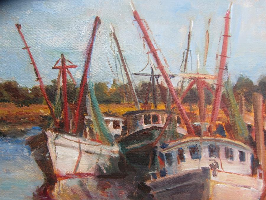 3 Shrimpers At Dock Painting by Albert Fendig