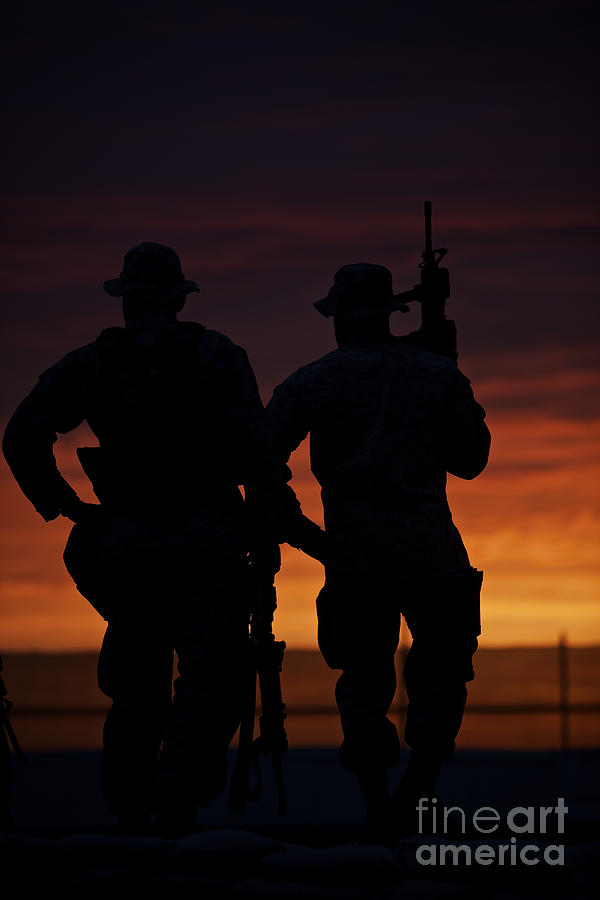 Operation Enduring Freedom Photograph - Silhouette Of U.s Marines On A Bunker by Terry Moore