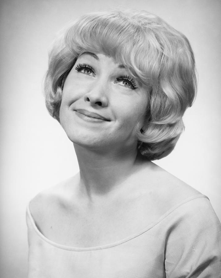 Adult Photograph - Smiling Woman Posing In Studio, (b&w), Portrait by George Marks