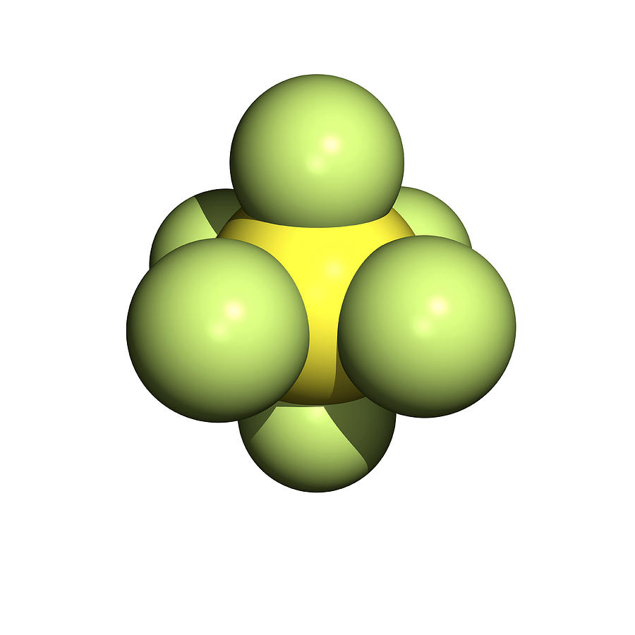 Chemical Photograph - Sulphur Hexafluoride Molecule by Friedrich Saurer