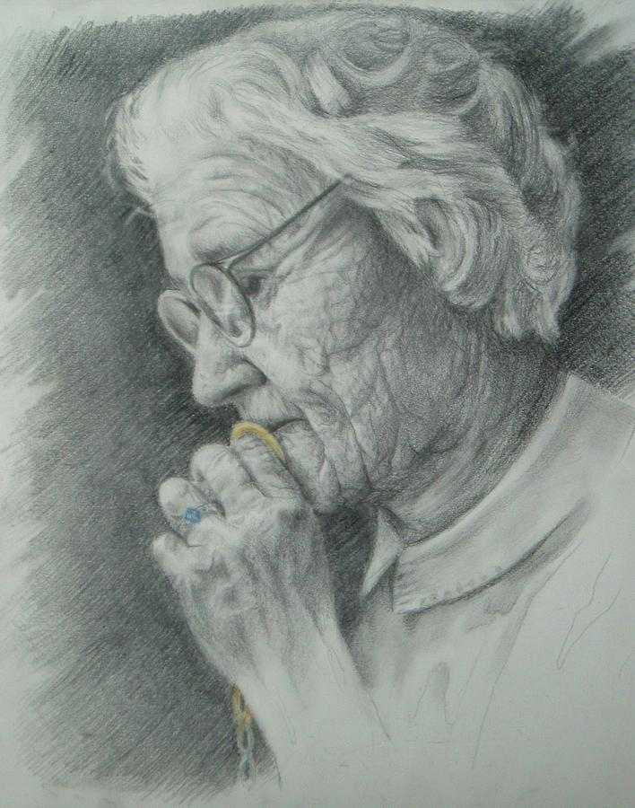 Old Woman Drawing - Take My Color by Joanna Gates