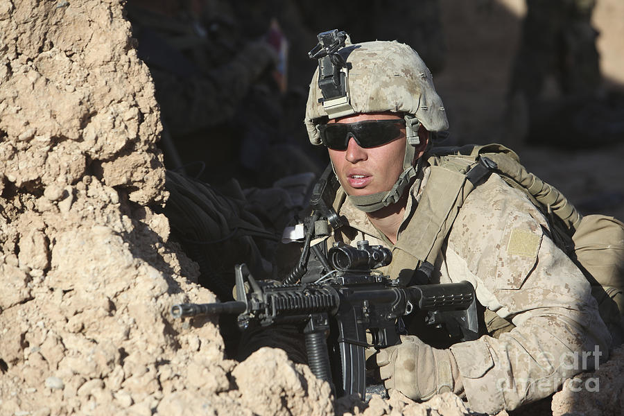 Military Photograph - U.s. Marine Provides Security by Stocktrek Images