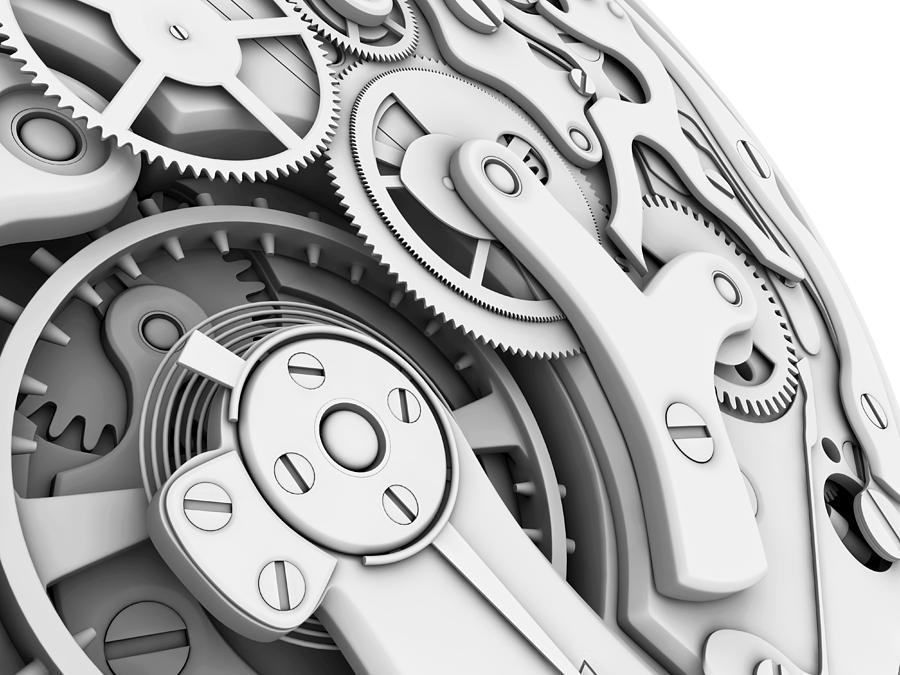 Clock Photograph - Wrist Watch Interior by Pasieka