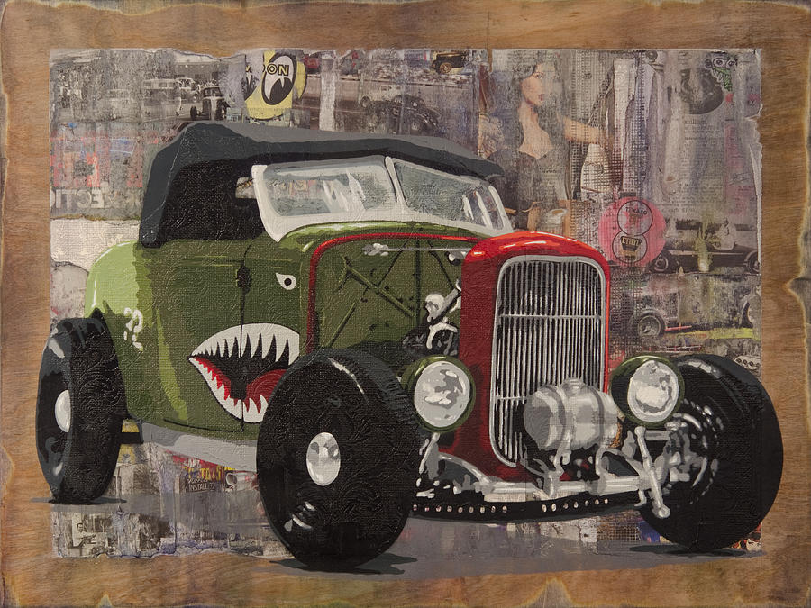 Hot Rod Painting - 32 Ford Roadster Warhawk by Josh Bernstein