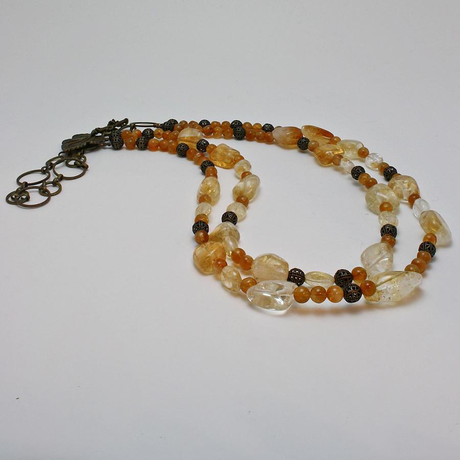 Semi Precious Gemstones Jewelry - 3514 Citrine Double Strand Necklace by Teresa Mucha