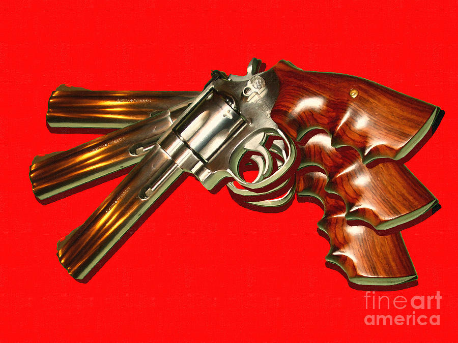 Gun Photograph - 357 Magnum - Painterly - Red by Wingsdomain Art and Photography