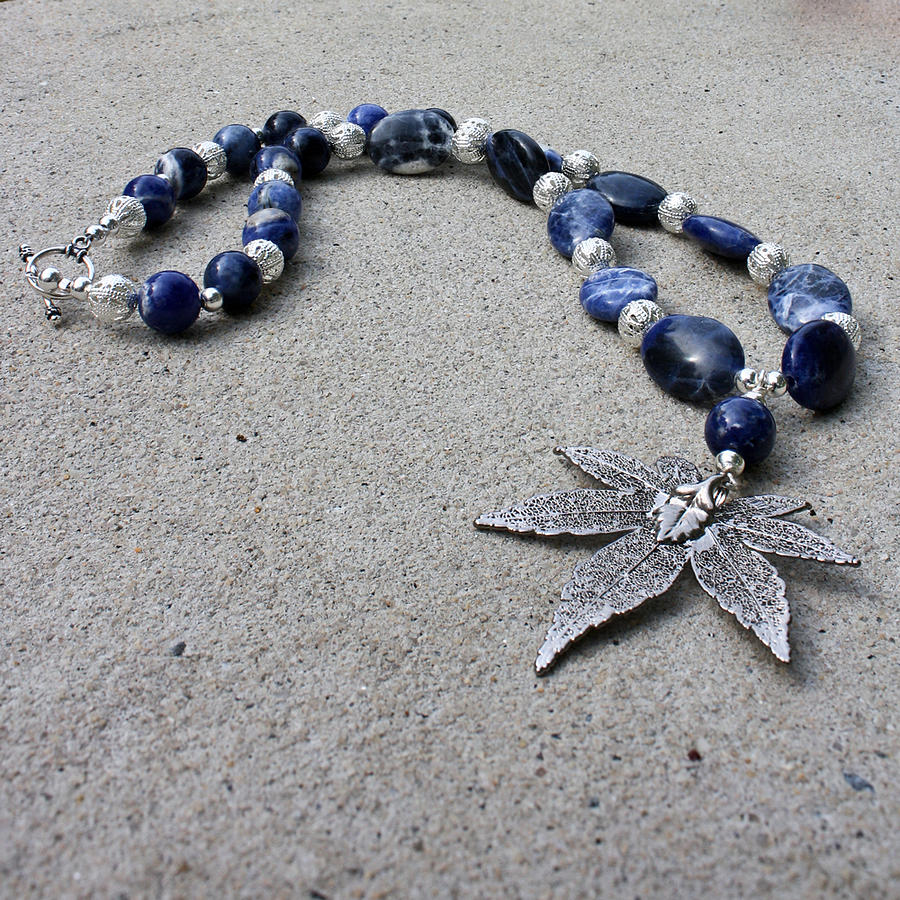 Semi Precious Gemstones Jewelry - 3593 Sodalite And Silver Necklace With Japanese Maple Leaf Pendant  by Teresa Mucha