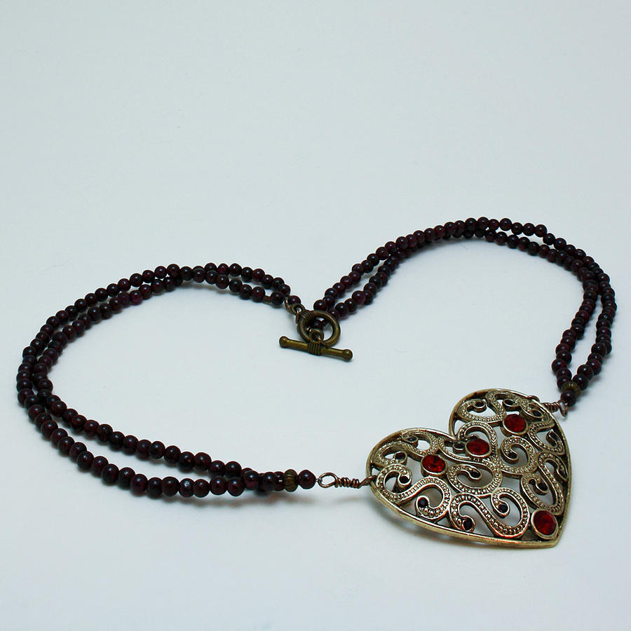 Necklace Jewelry - 3597 Vintage Heart Brooch Pendant Necklace by Teresa Mucha