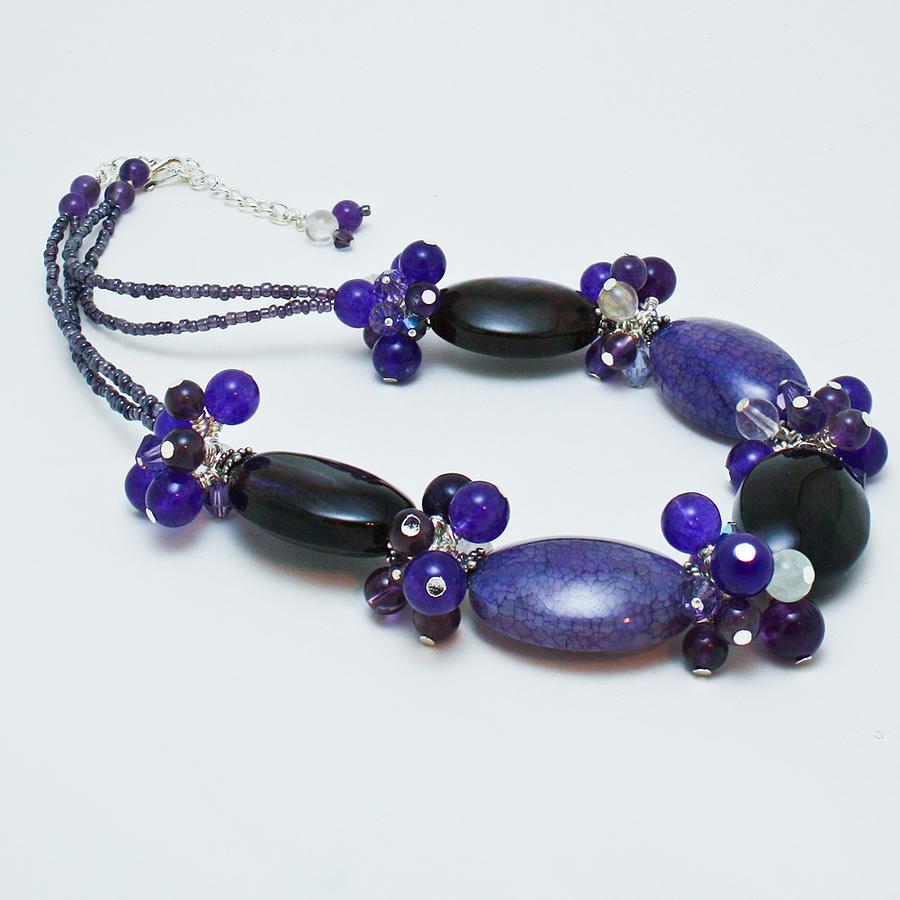 Original Handmade Jewelry Jewelry - 3598 Purple Cracked Agate Necklace by Teresa Mucha