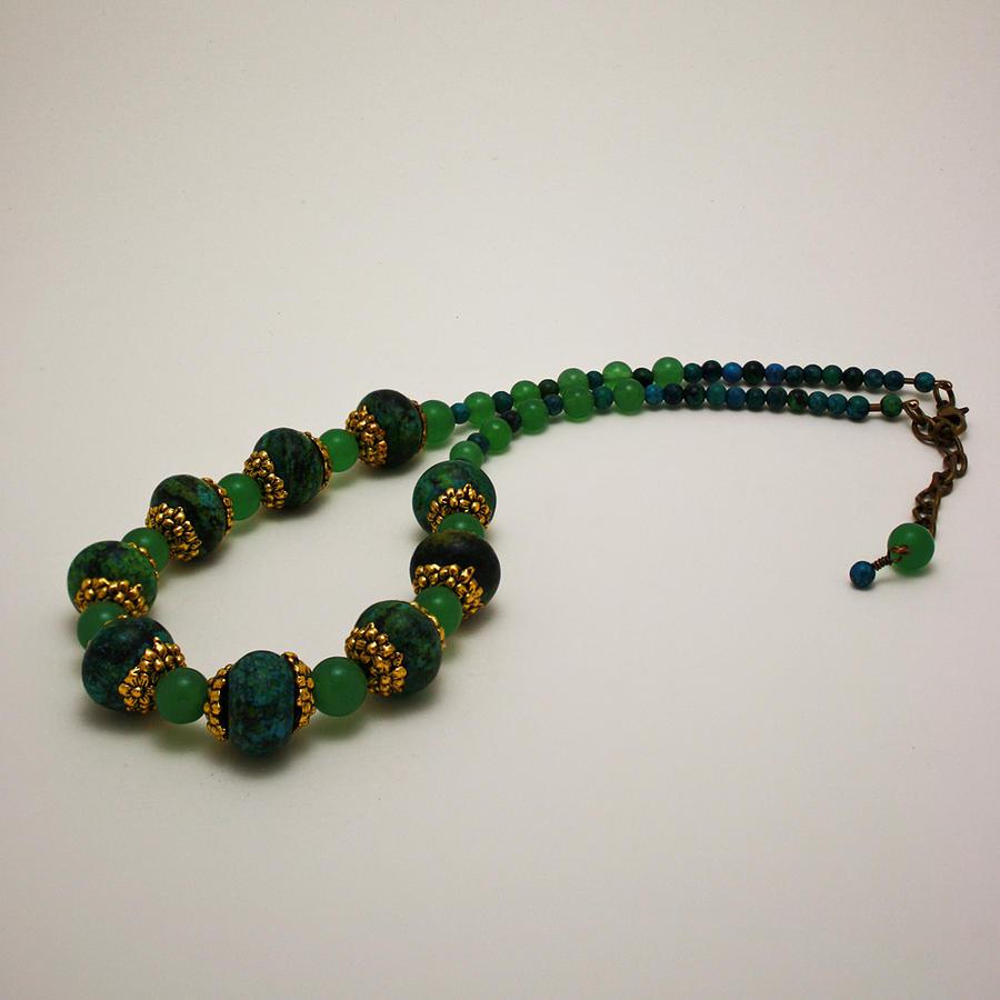 Original Jewelry - 3616 Austrailian Jasper And Adventurine Necklace by Teresa Mucha