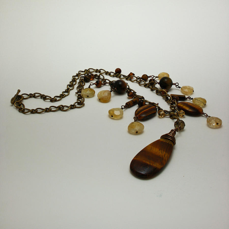 Necklace Jewelry - 3618 Tigereye And Citrine Necklace by Teresa Mucha