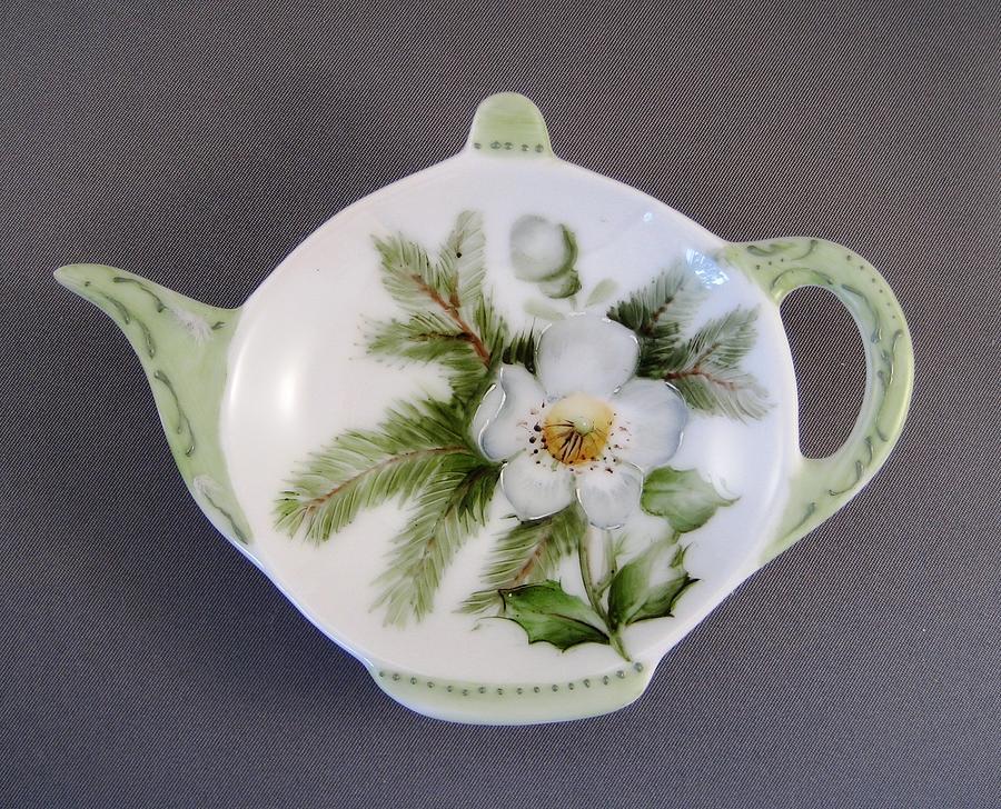 Porcelain Ceramic Art - 382 Teabag Holder Green by Wilma Manhardt