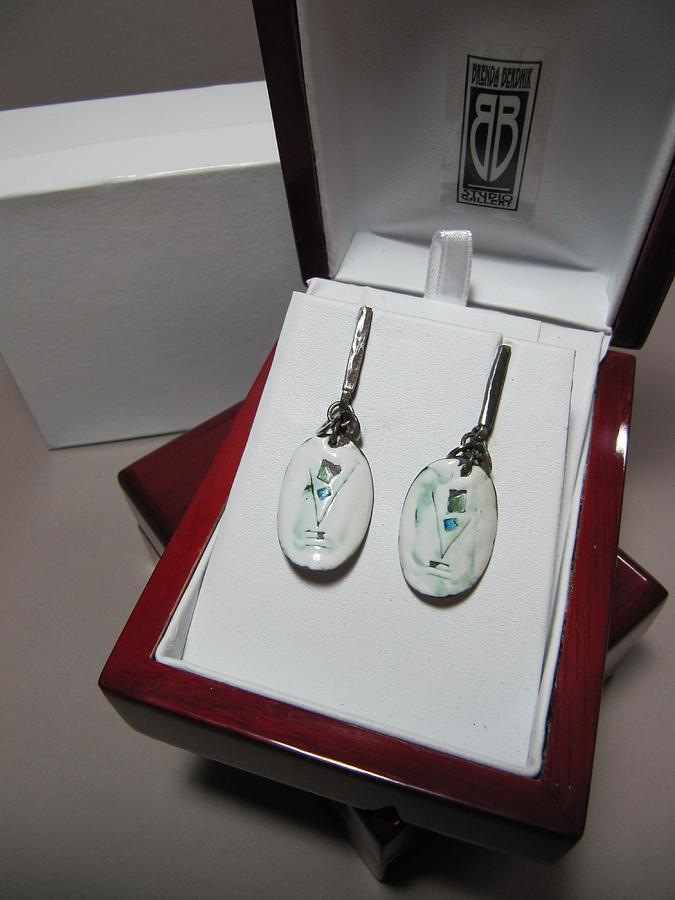 White Jewelry - 386 Enamel Sgraffito Earrings by Brenda Berdnik