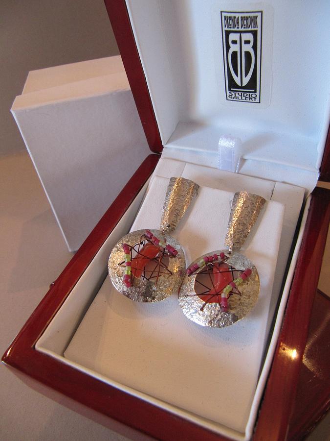 Earrings Jewelry - 389 Woven Wire Orange Earrings by Brenda Berdnik