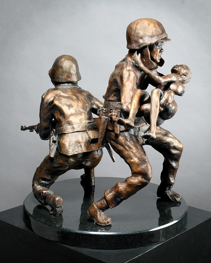 Three Figures Sculpture - 38th Parallel by Eduardo Gomez
