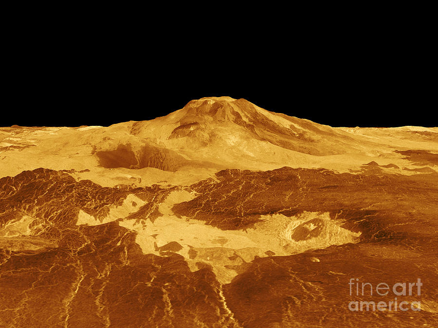 Plains Photograph - 3d Perspective View Of Maat Mons by Stocktrek Images