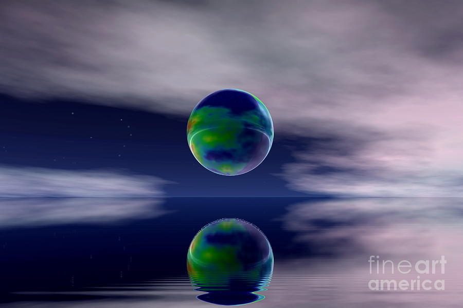 Nature Digital Art -  Planet Reflection by Odon Czintos