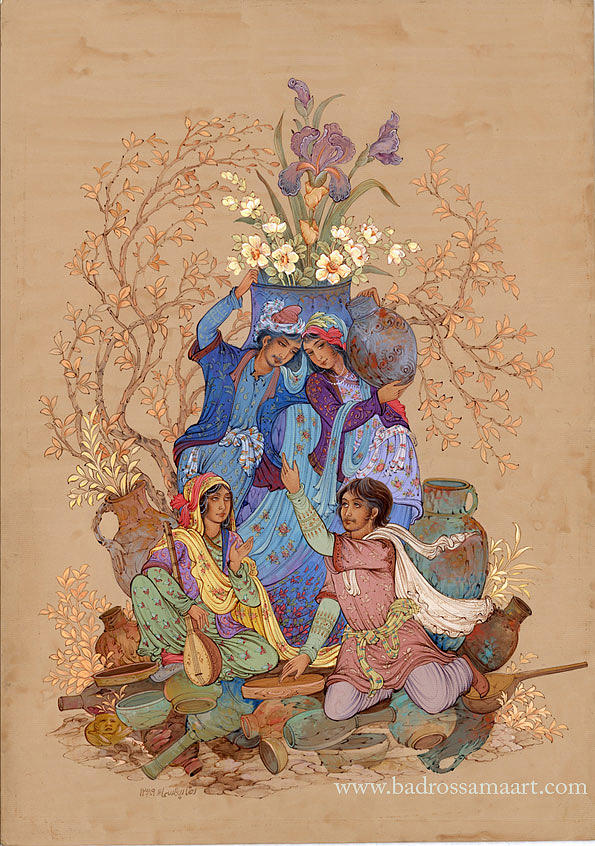 Khayyam Painting - About Quatrains Of Khayyam by Reza Badrossama