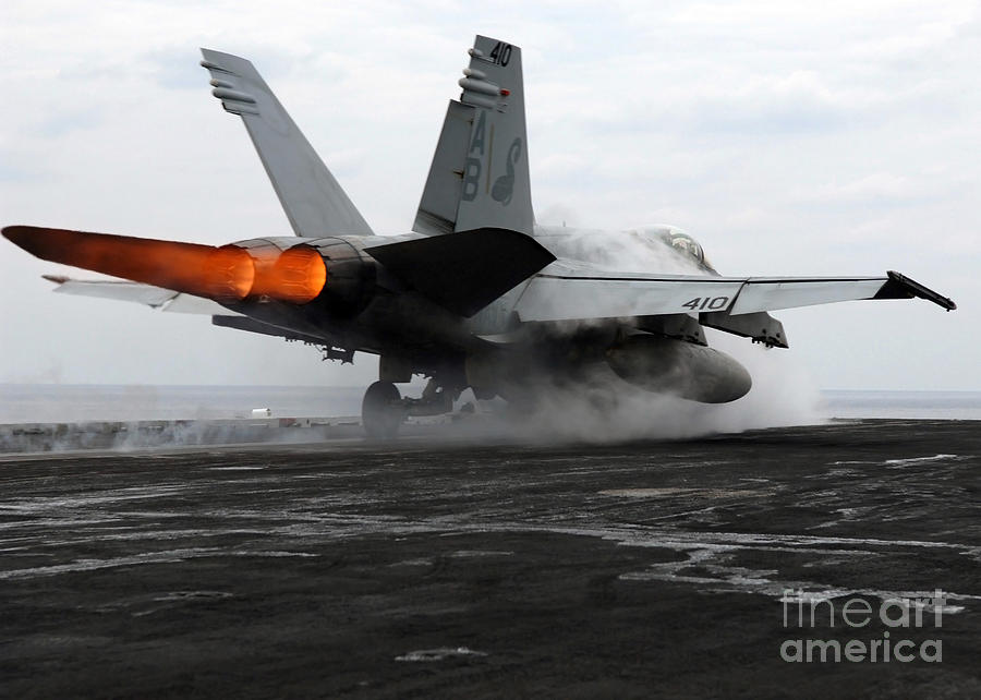 Color Image Photograph - An Fa-18c Hornet Launches by Stocktrek Images