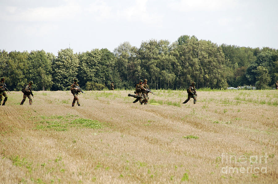 Adults Only Photograph - Belgian Paratroopers Proceeding by Luc De Jaeger