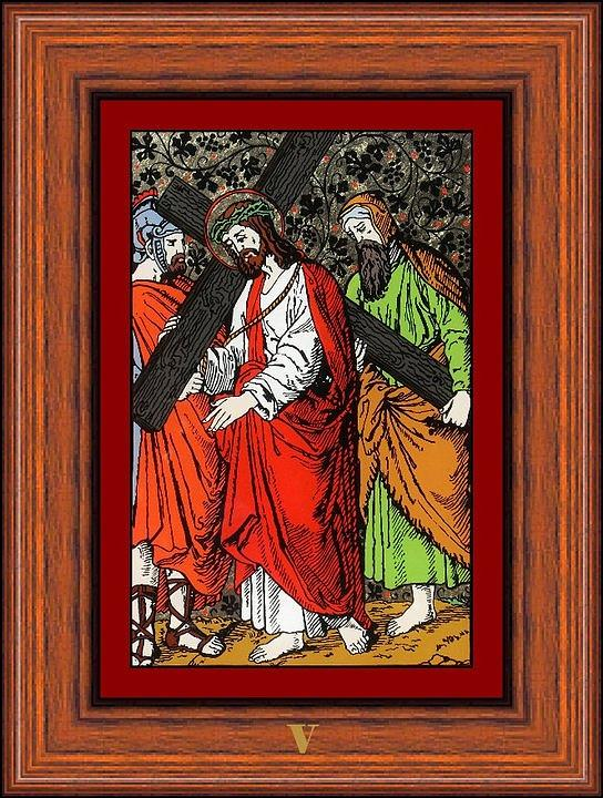 V - Simeon Cireneul �l Ajut� Pe Isus S� Duc� Crucea (simon Helps Jesus To Carry His Cross) - Icoana Pictata In Ulei Cu Foita De Aur Pe Sticla (icon Painted In Oil With Gold Leaf On Glass ) Painting - Drumul Crucii - Stations Of The Cross  by Buclea Cristian Petru