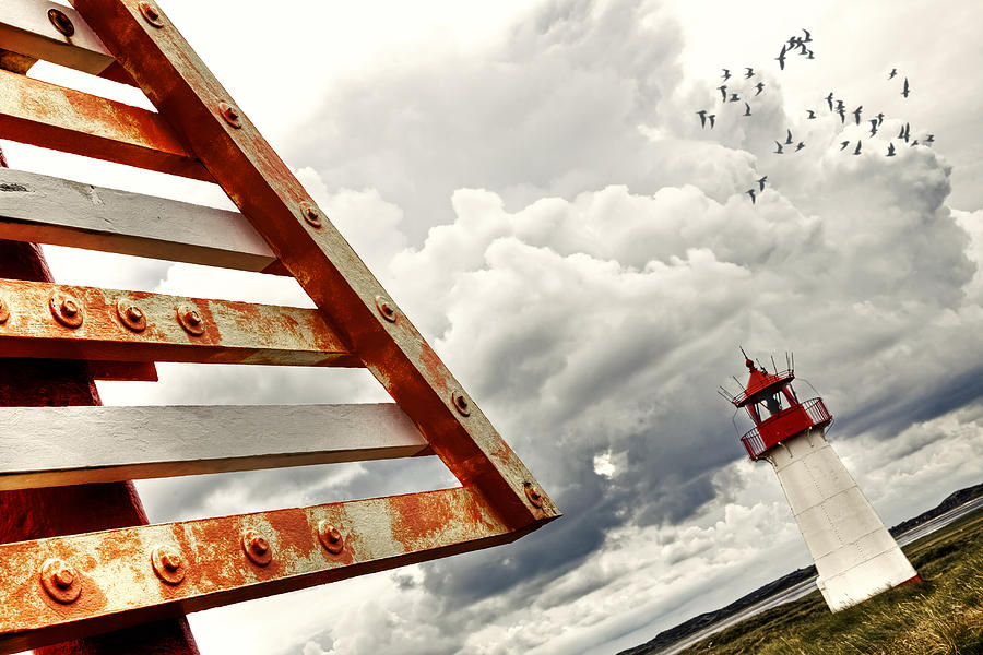 Warning Sign Photograph - elbow - Sylt by Joana Kruse