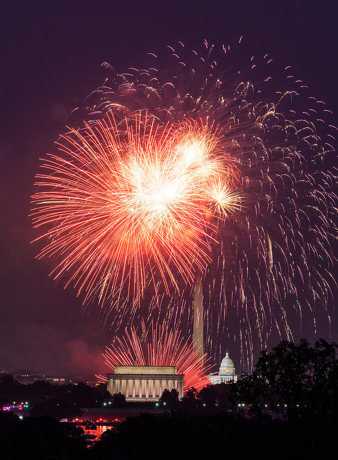 America Photograph - Fireworks Over Washington Dc On July 4th by Steven Heap